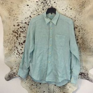 Tommy Bahama Mint Green Linen Shirt Sz L. (G06)